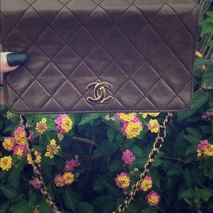 Rare lambskin Chanel mini flap bag 24k gold plat